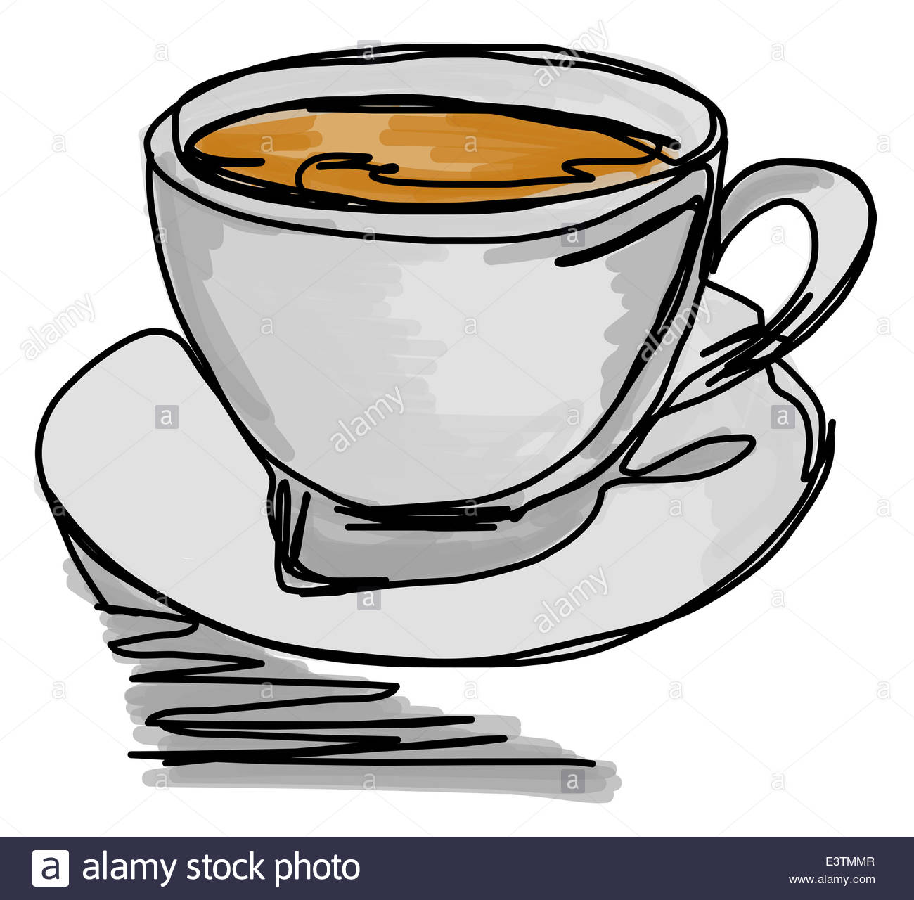 1300x1280 Continuous Line Drawing Of A Cup Of Coffee Stock Photo, Royalty