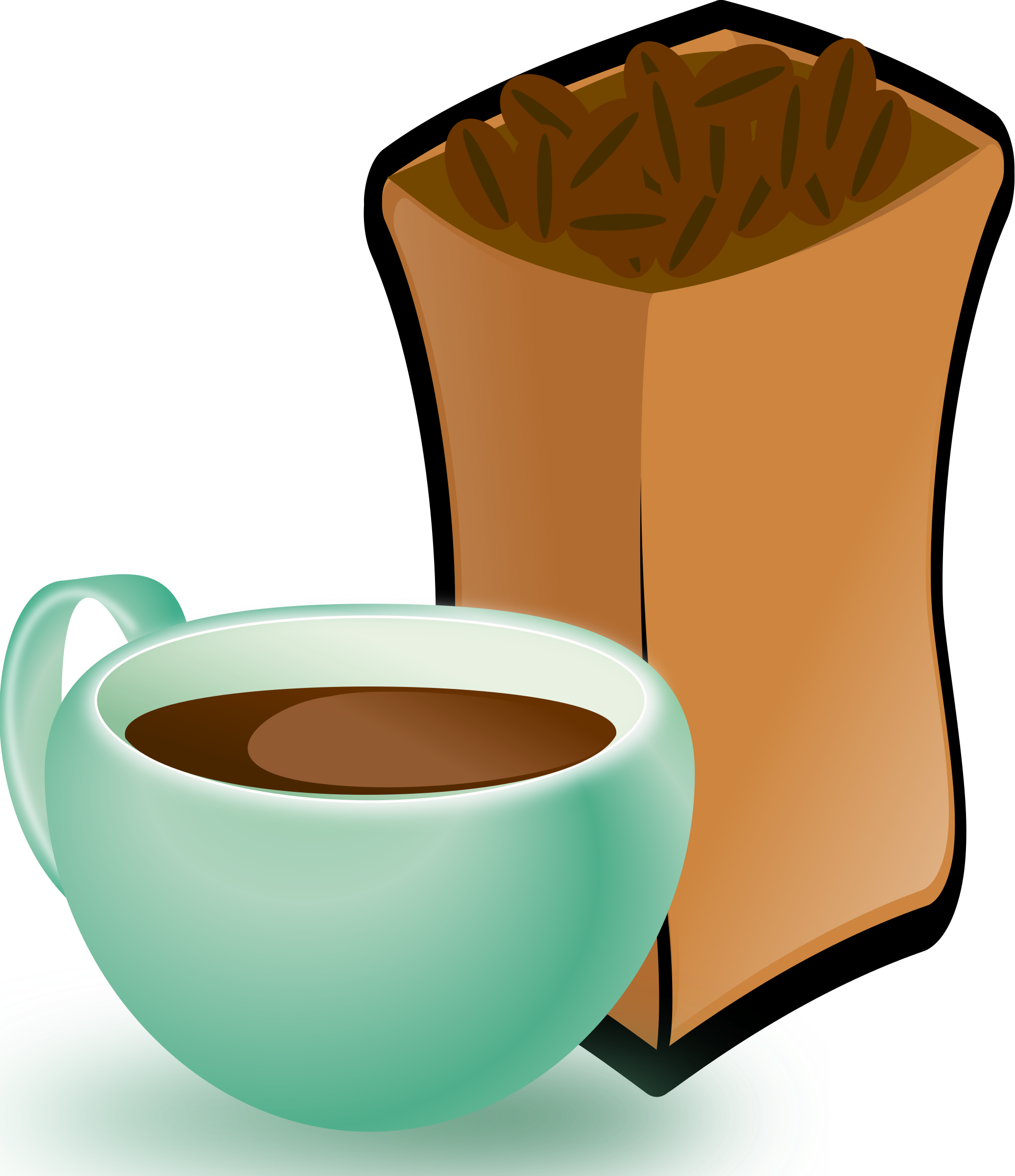 2072x2400 Cup Of Coffee With Sack Of Coffee Beans Icons Png