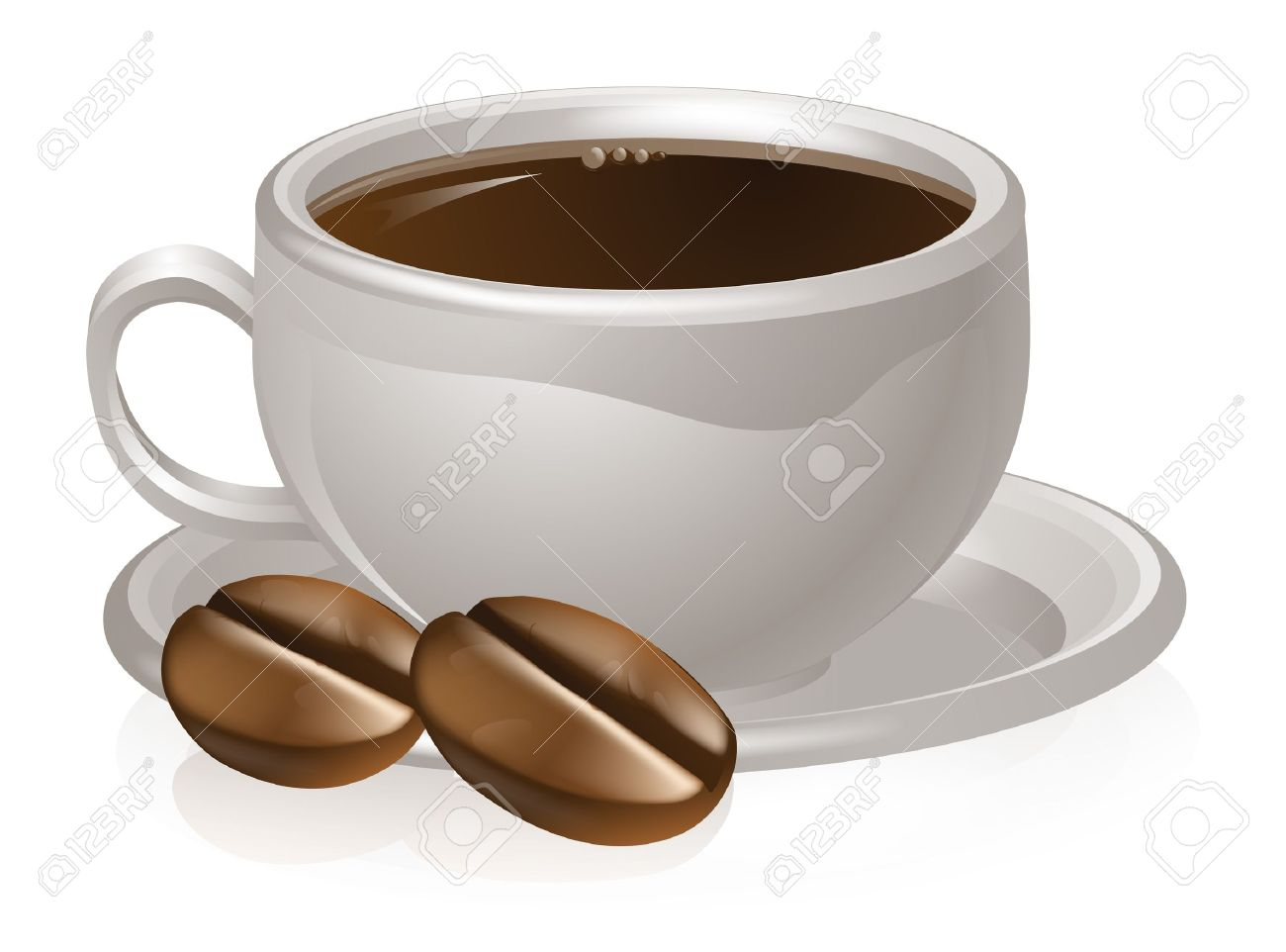 1300x962 Illustration Of A Cup Of Coffee And Coffee Beans With White Coffee