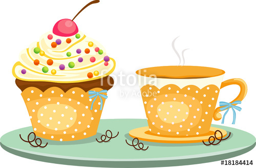 500x329 Cup Of Coffee And Cute Cup Cake Stock Image And Royalty Free
