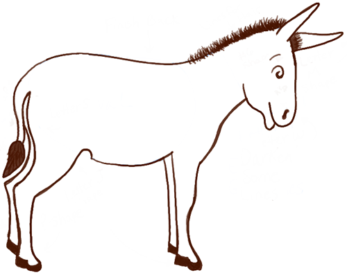 500x397 How To Draw Cartoon Donkeys Amp Mules With Simple Steps Lesson How