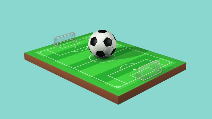 852x480 Soccer Ball Rotating On Football Field, Seamless Loop Stock