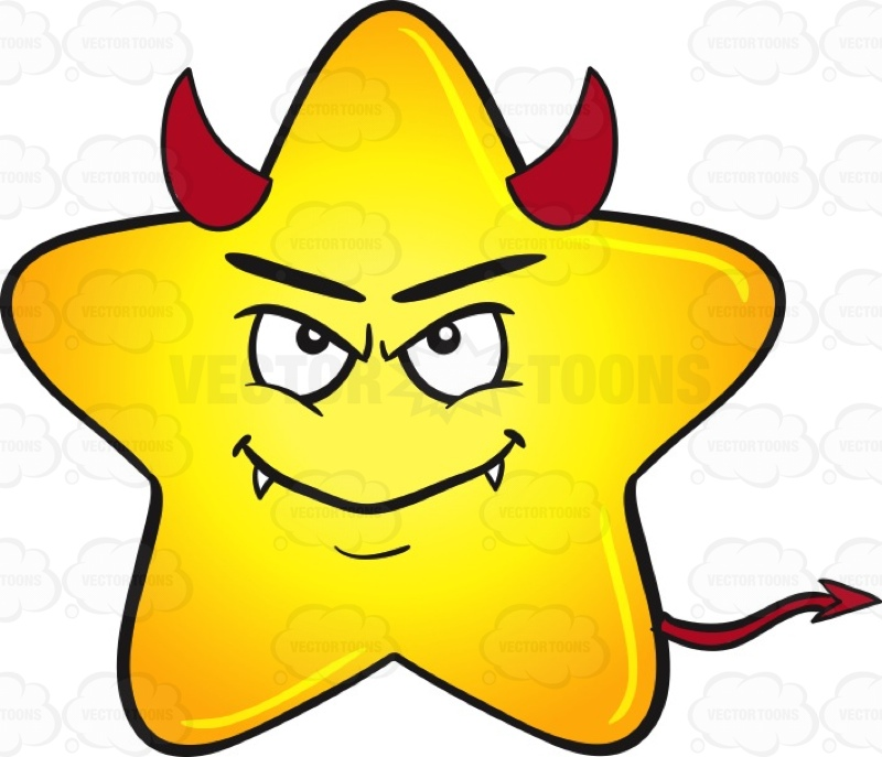 800x687 Gold Star Cartoon Smiling With Fangs, Horns And Tail Emoji Cartoon