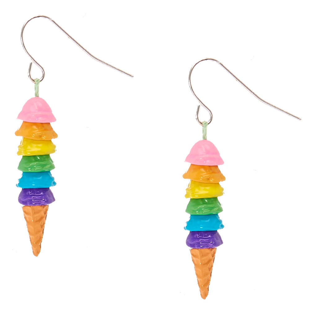 1000x1000 Rainbow Ice Cream Cone Drop Earrings Claire'S