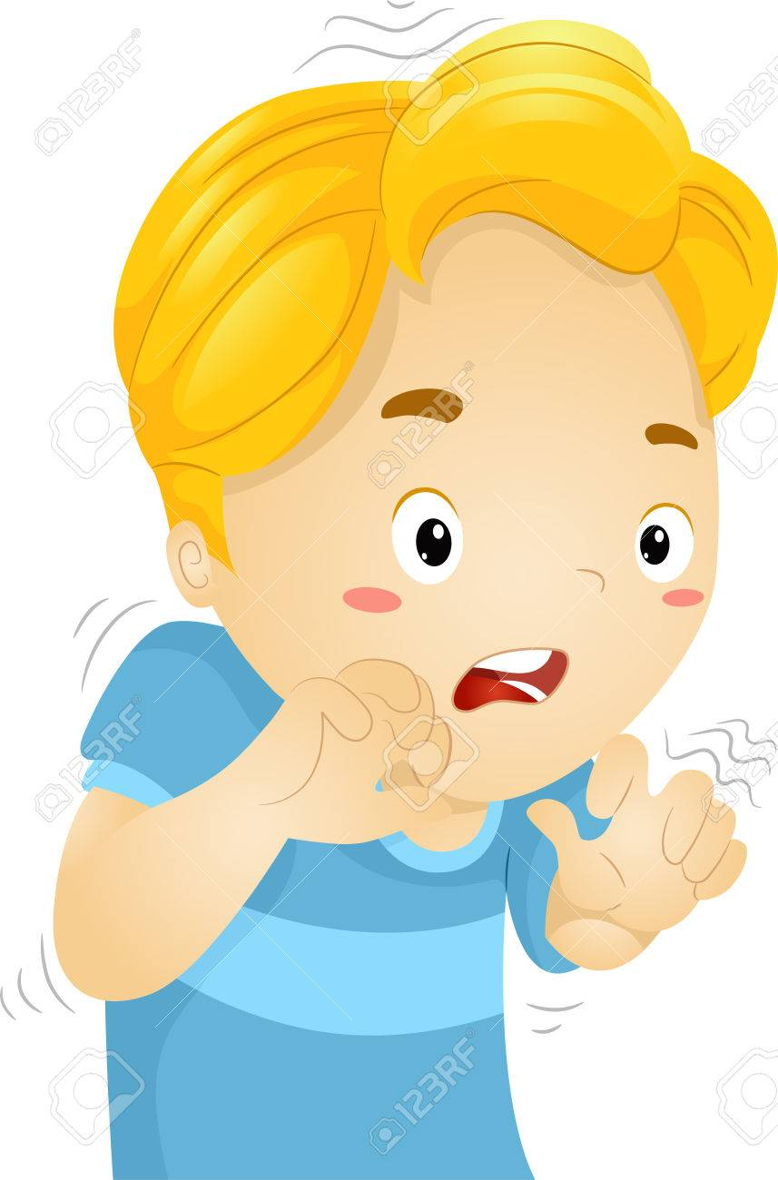 857x1300 Illustration Of A Little Boy Quivering In Fear Stock Photo