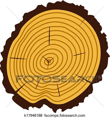 437x470 Clip Art Of Vector Wooden Cut Of A Tree Log K17946188