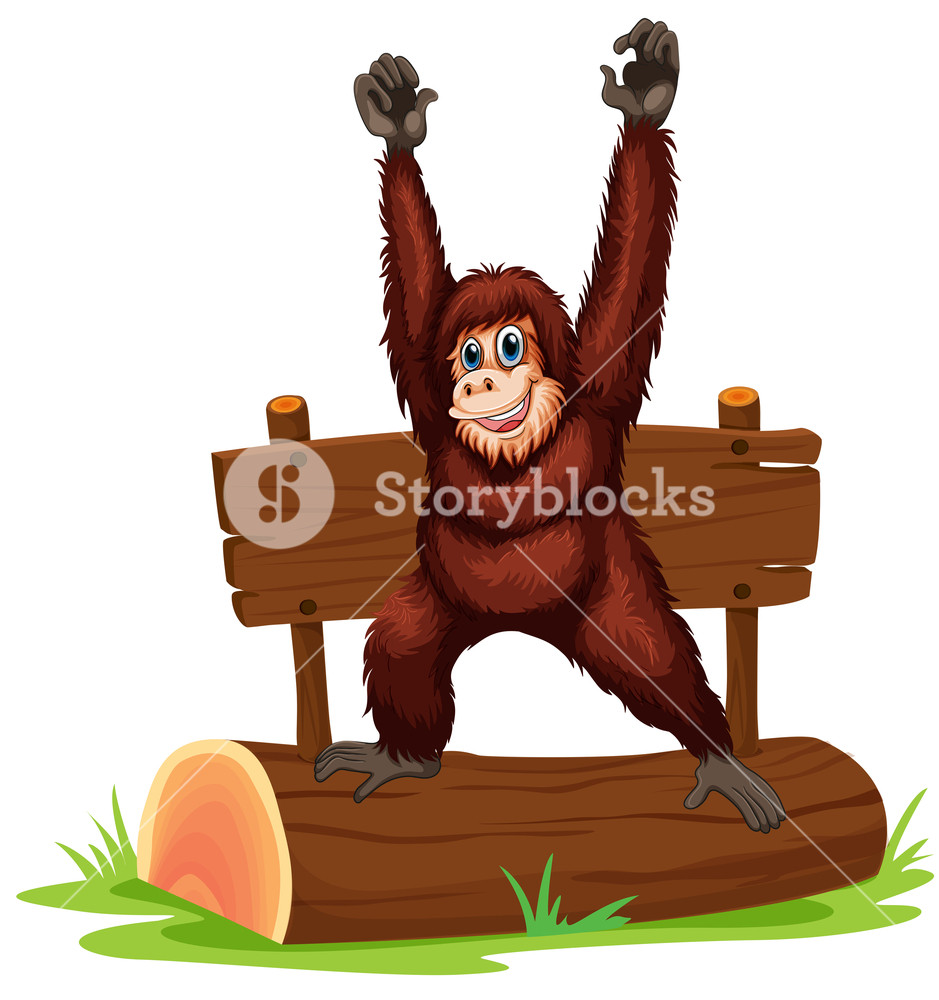 939x1000 Illustration Of An Orangutan Standing On A Log Royalty Free Stock