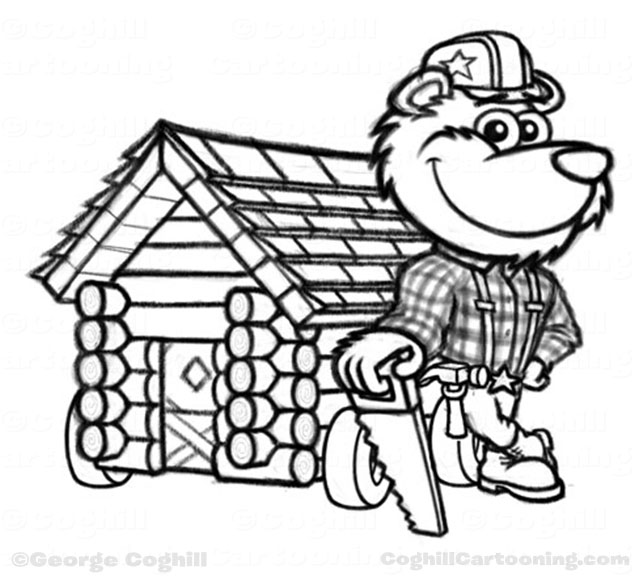 640x581 Lumberjack Bear Amp Log Cabin Cartoon Character Sketch