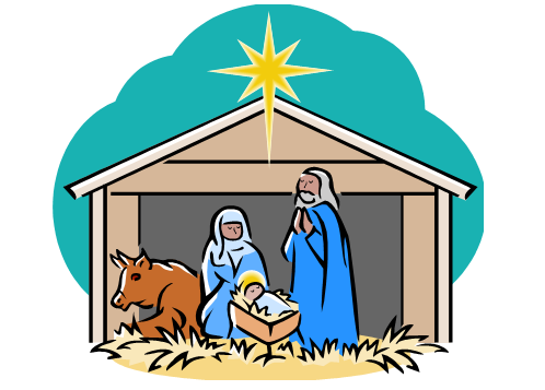 Merry christmas nativity scene. Picture of a free