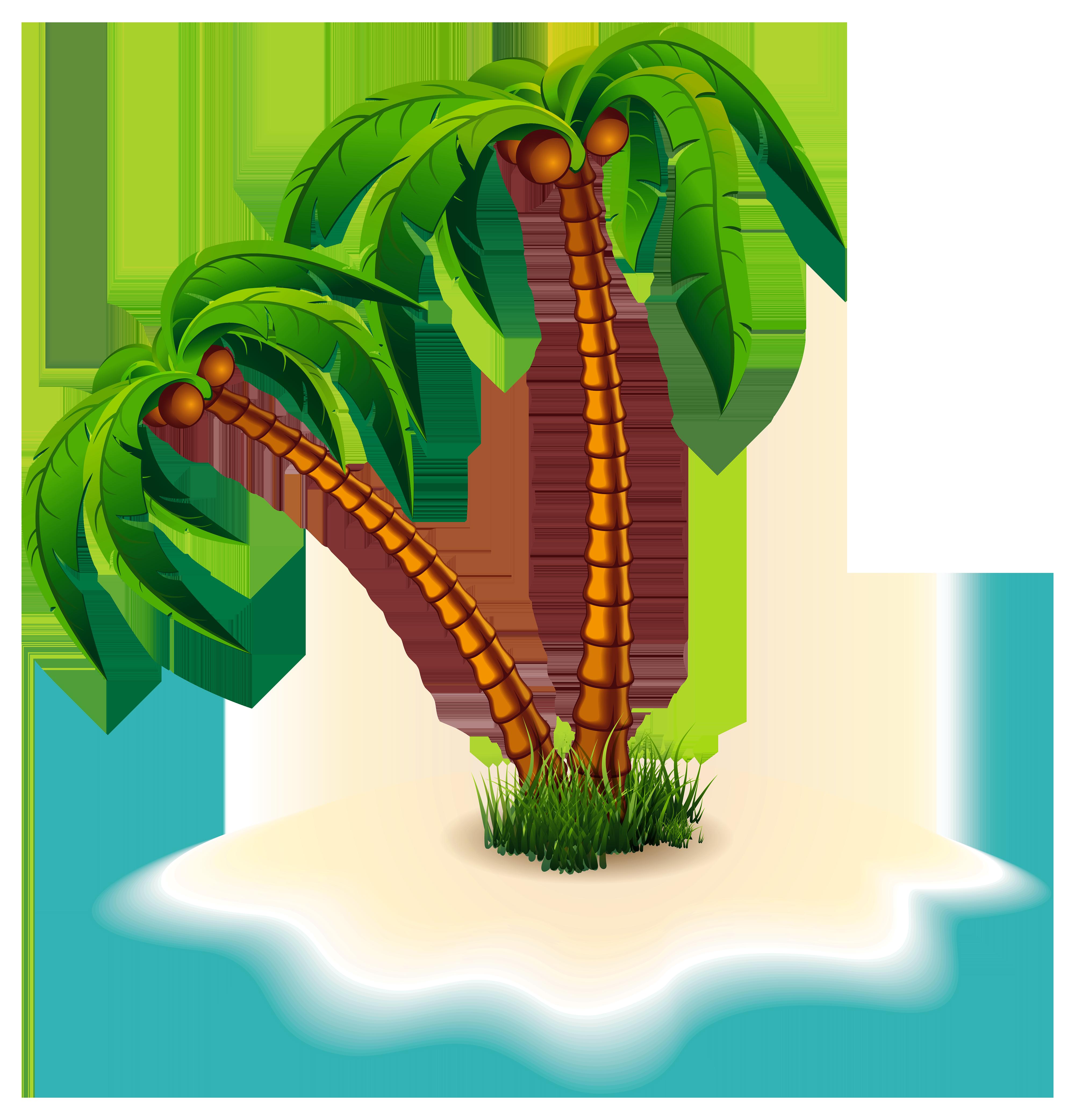 4000x4166 Palm Tree On Island Clipart