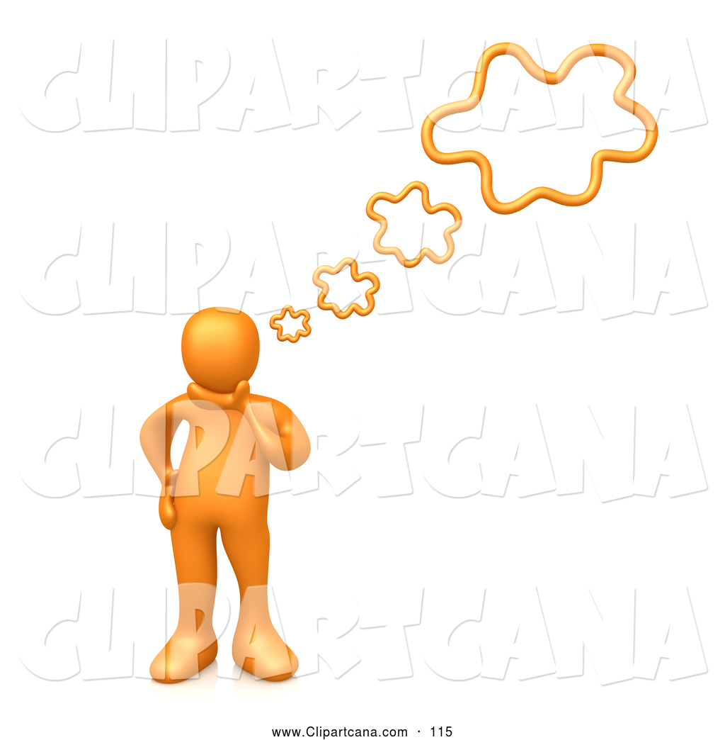 1024x1044 Clip Art Of A Simple Orange Person Rubbing His Chin While Thinking