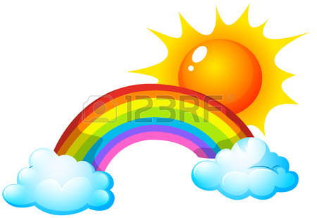 450x309 Illustration Of A Sun And A Rainbow Royalty Free Cliparts, Vectors
