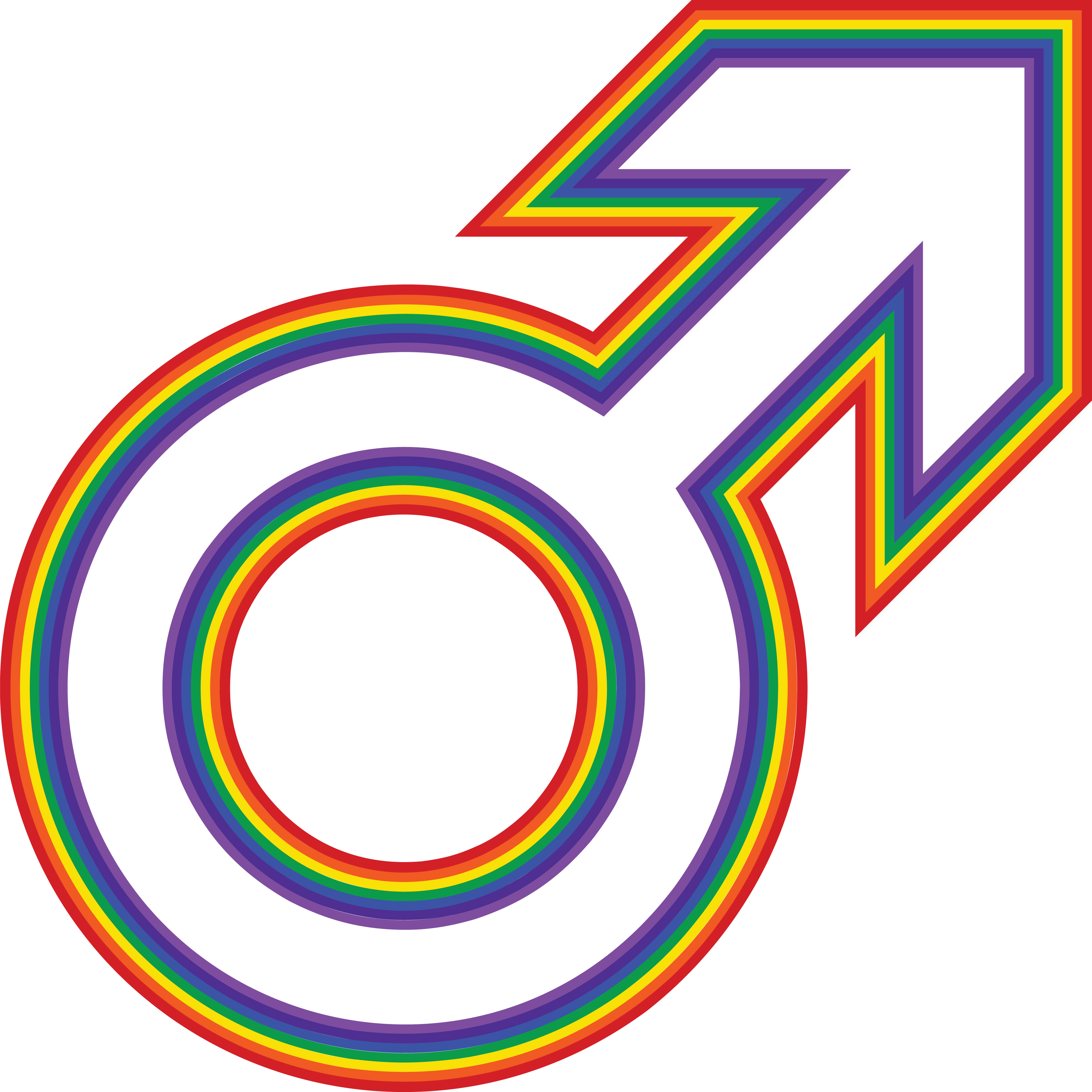 4000x3999 Clipart Of A Rainbow Male Gender Symbol