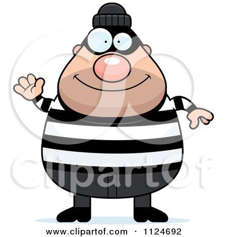 450x470 Cartoon Of A Happy Chubby Burglar Or Robber Man Waving