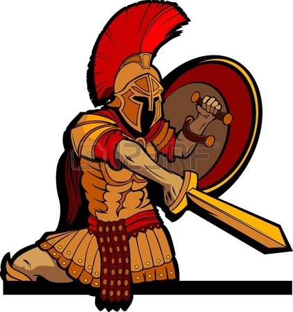 422x450 Greek Spartan Or Roman Soldier Mascot Holding A Shield And Sword