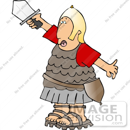 450x450 Roman Soldier In Uniform, Holding Up A Sword Clipart