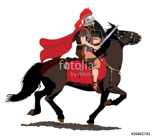 500x453 Roman Soldier On Horseback Charges With Sword Drawn. Stock Image