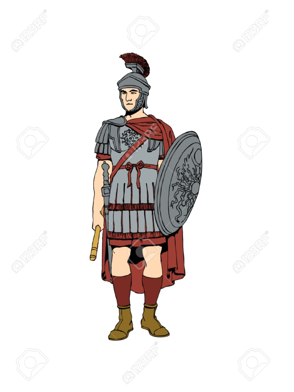 975x1300 The 1st Century Roman Soldier In Armour. Stock Photo, Picture