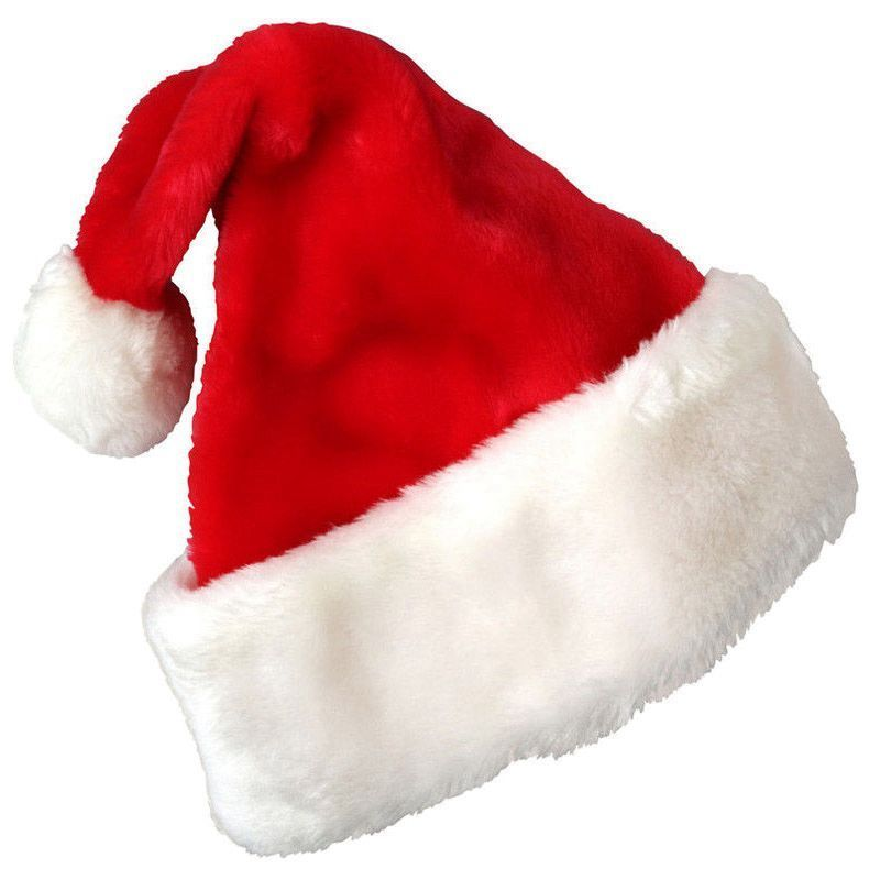 800x800 Christmas Party Santa Hat Velvet Red And White Cap For Santa Claus