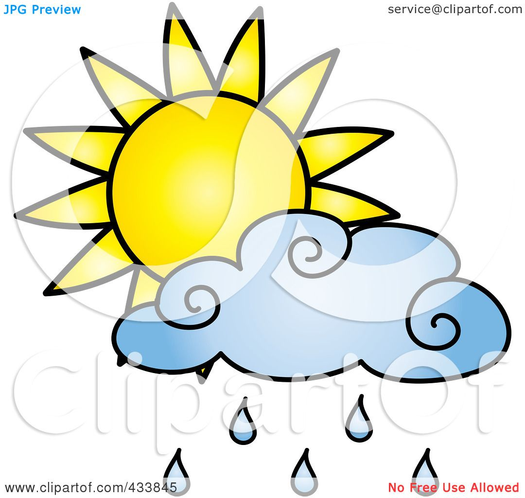 1080x1024 Royalty Free (Rf) Clipart Illustration Of A Sun Behind A Blue Rain