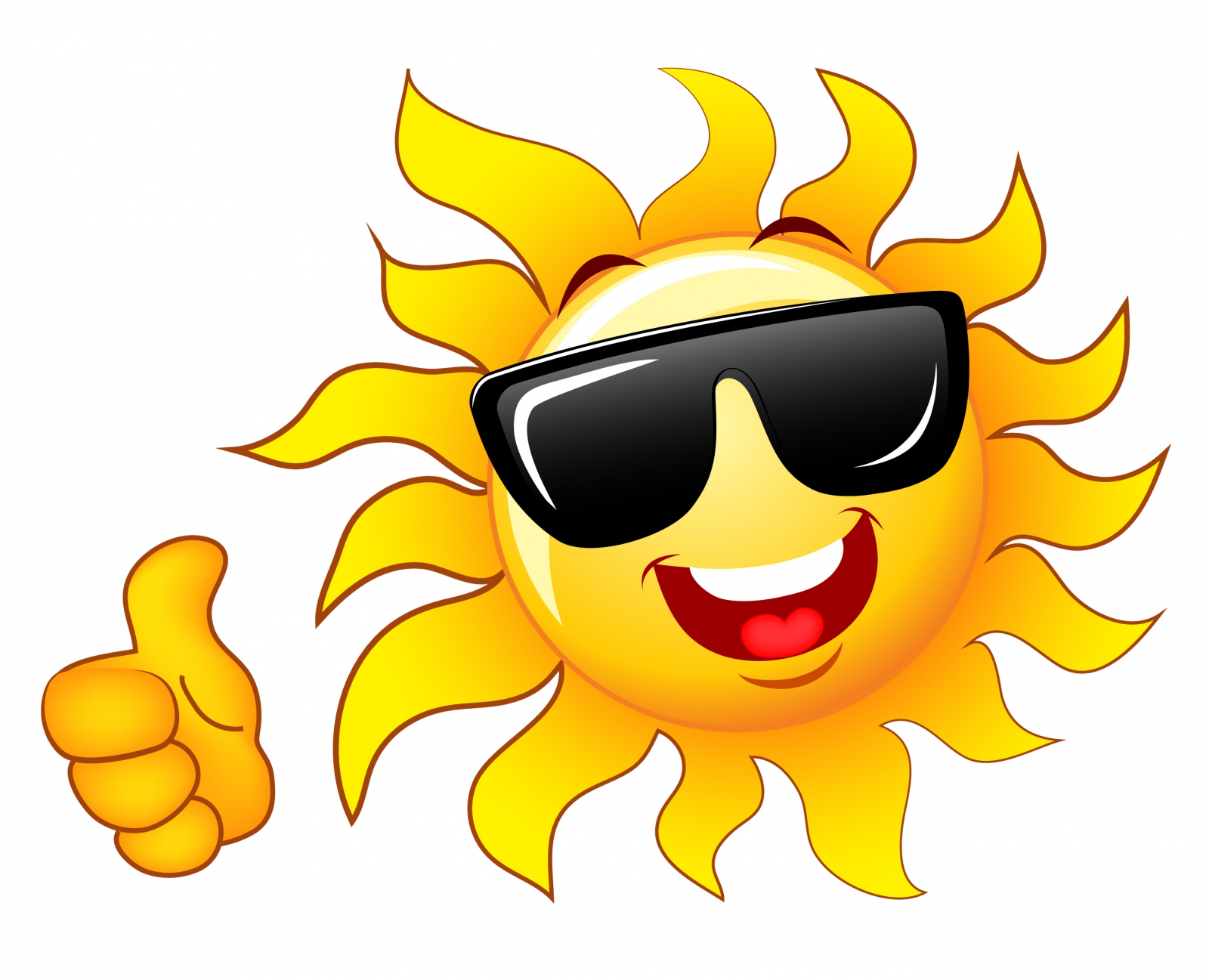 1600x1297 Smiling Sun With Sunglasses Clipart