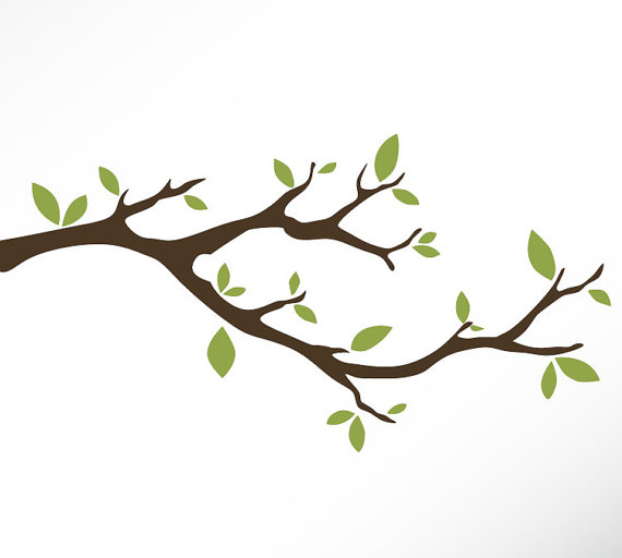 570x512 Tree Branch Vinyl Wall Decal Sticker Leaves Modern