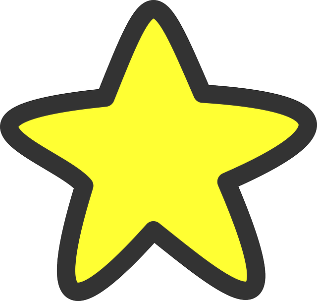 640x607 Black, Outline, Star, Yellow, White, Five, Cartoon