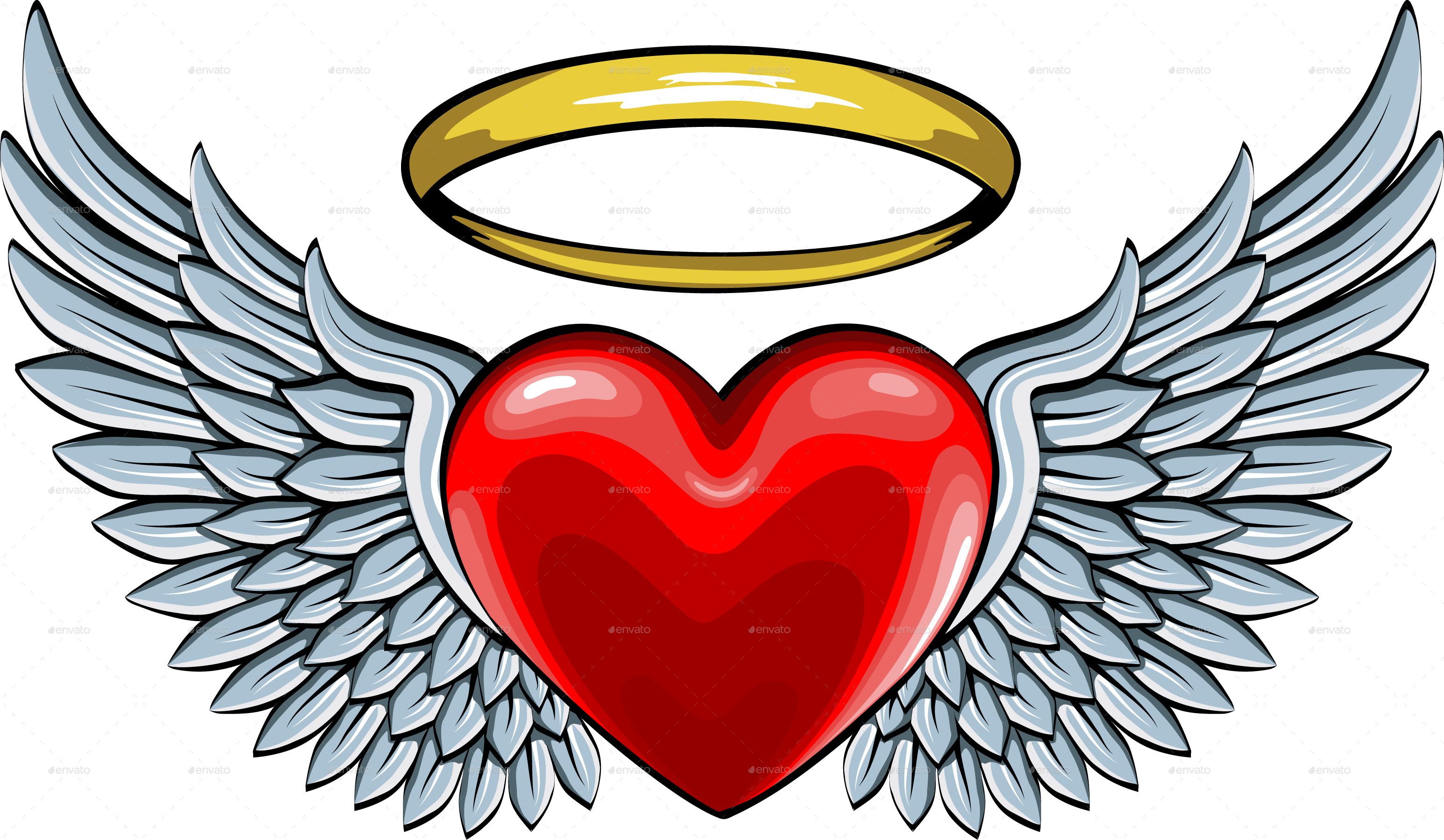 3093x1800 Red Heart With Angel Wings And Halo By Ashmarka Graphicriver