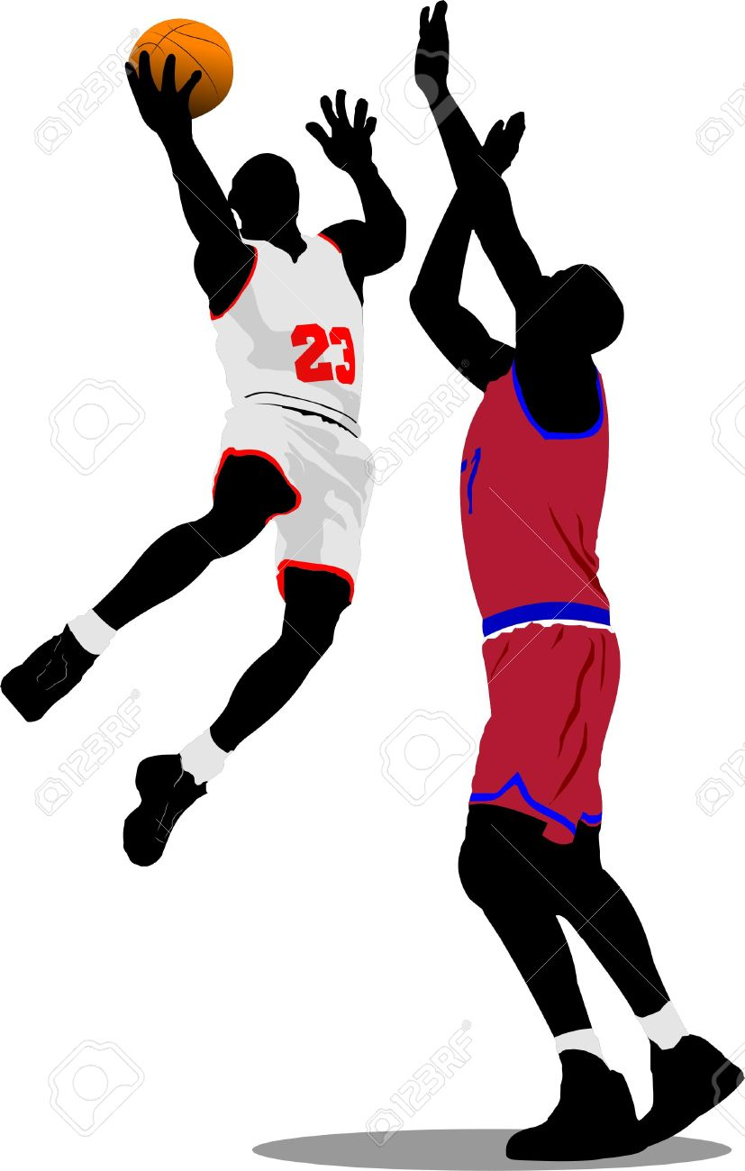 827x1300 Basketball Players. Vector Illustration Royalty Free Cliparts