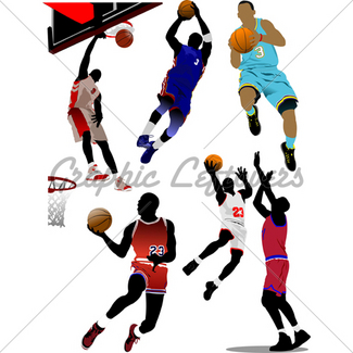 325x325 Basketball Players. Vector Illustration Gl Stock Images
