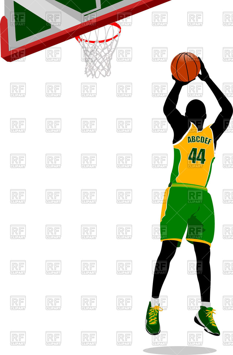 789x1200 Basketball Player Jumping To A Basket Royalty Free Vector Clip Art