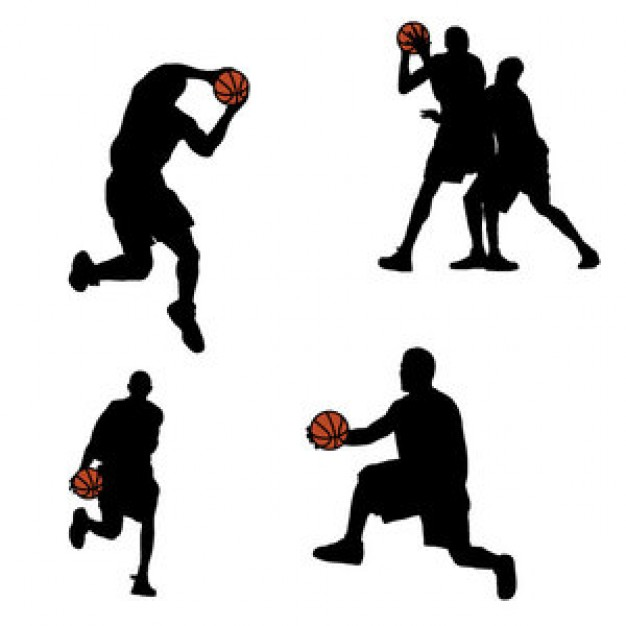 626x626 Basketball Players Silhouettes Background Vector Set Vector Free
