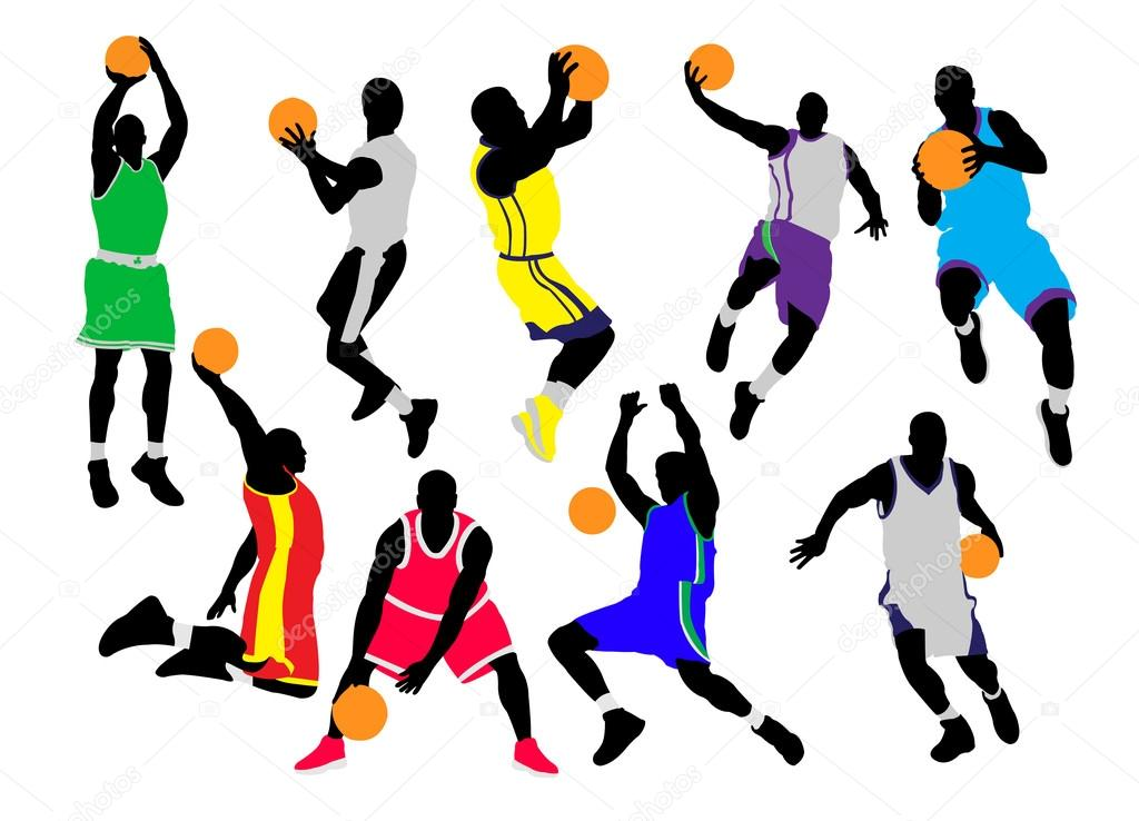 1024x738 Basketball Players Vector Silhouettes Stock Vector Dusan.j