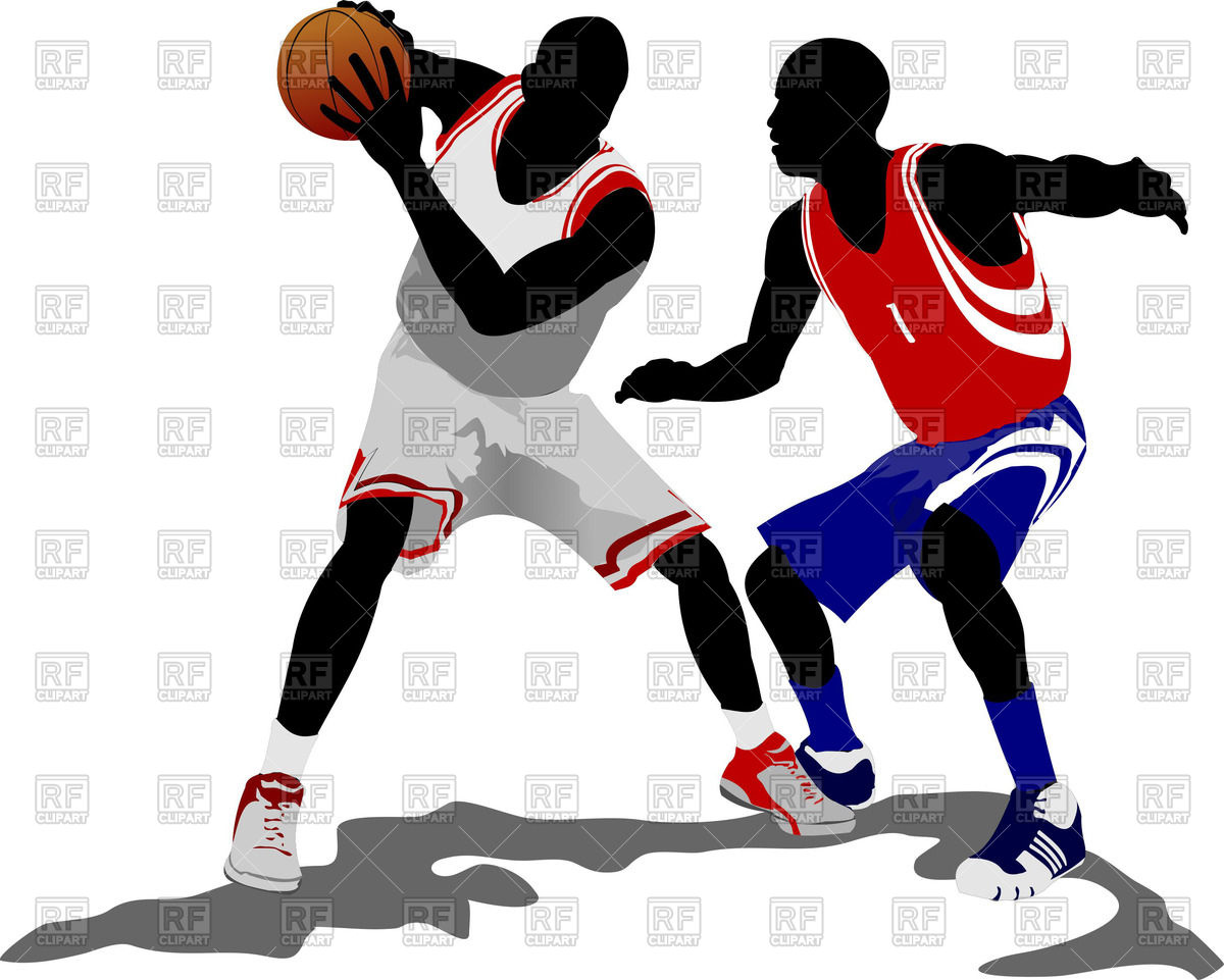 1200x961 Colored Silhouettes Of Basketball Players With Ball Royalty Free