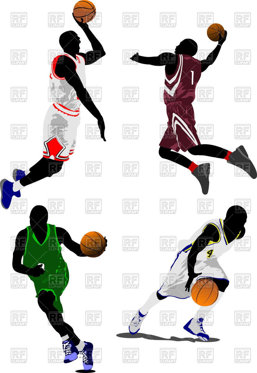 827x1200 Colorful Silhouettes Of Basketball Players Royalty Free Vector