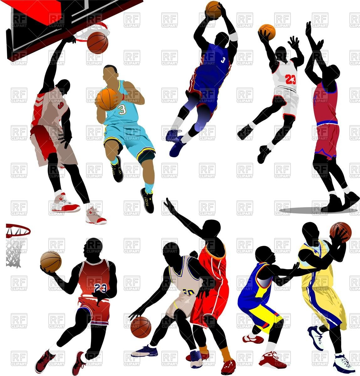 1148x1200 Set Of Basketball Players In Action Royalty Free Vector Clip Art