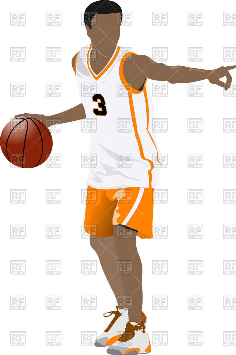 798x1200 Silhouette Of Basketball Player With Ball In Action Royalty Free