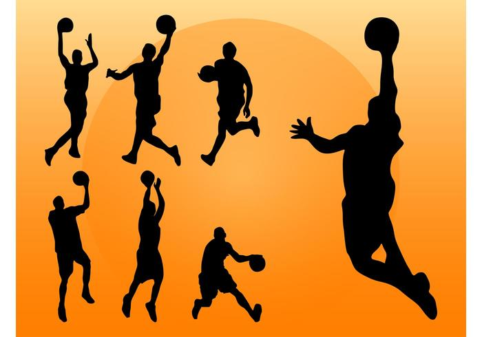 700x490 Basketball Players Silhouettes