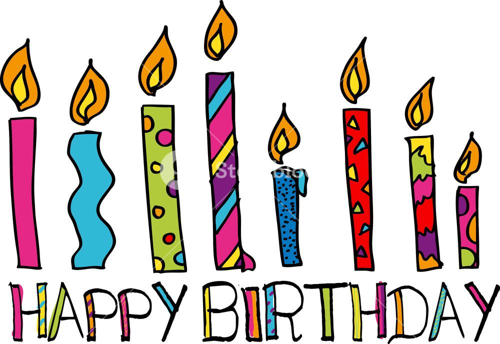1000x688 Happy Birthday Candles. Vector Illustration Royalty Free Stock