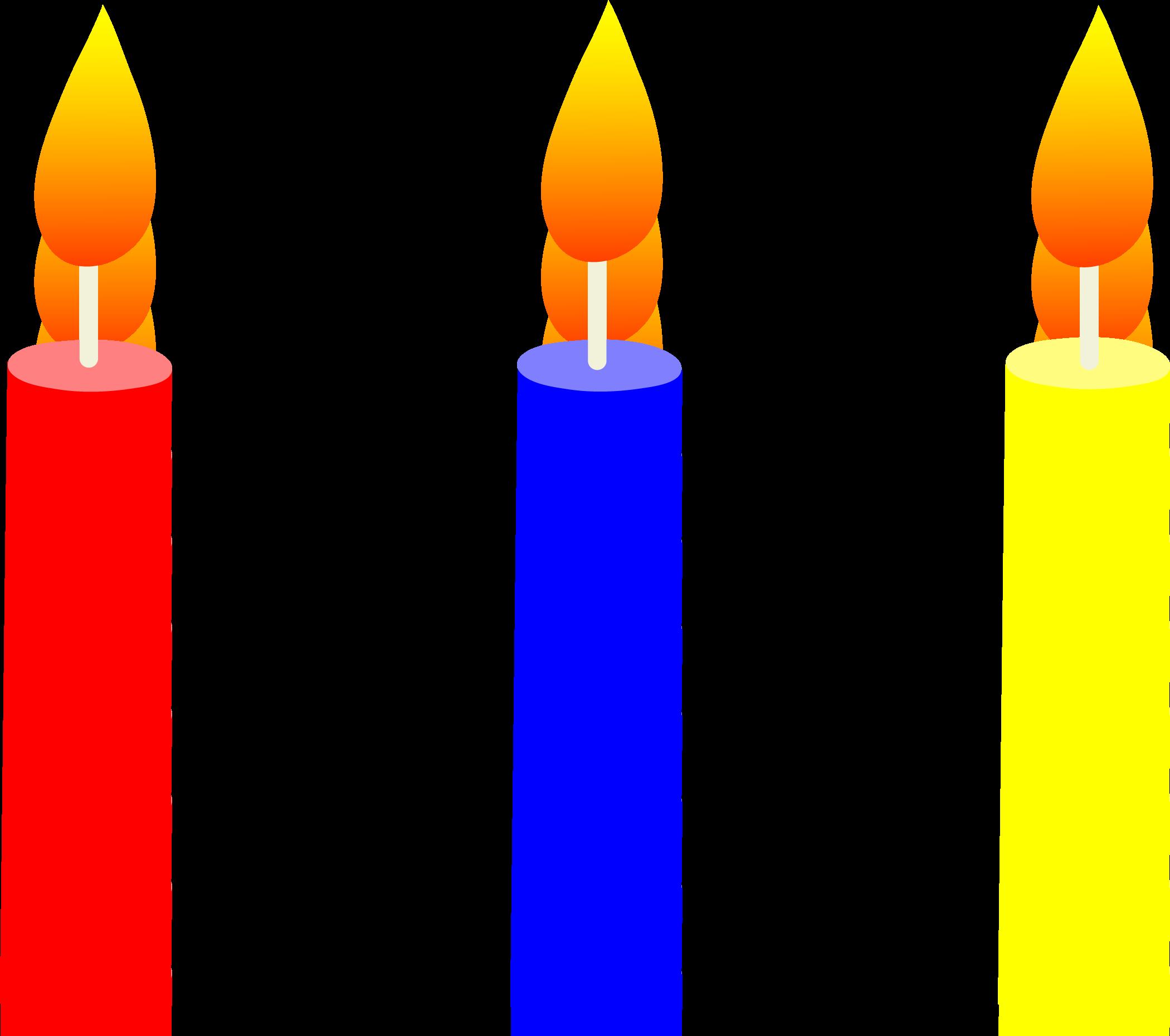 2100x1860 Three Lit Birthday Cake Candles