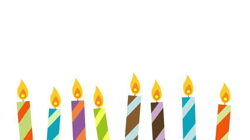 852x480 Animated Cartoon Birthday Candles Flickering And Being Blown Out