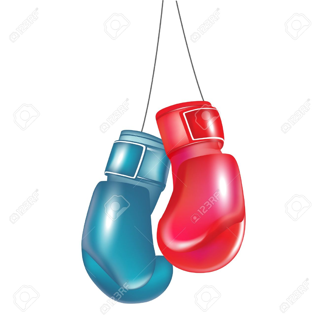 1294x1300 Two Boxing Gloves Hanging Isolated On White Royalty Free Cliparts