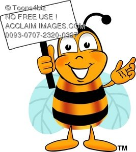 267x300 Illustration Cartoon Bumble Bee Or Honey Bee Holding A Sign