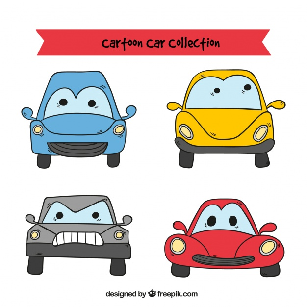 626x626 Cartoon Cars With Funny Faces Vector Free Download