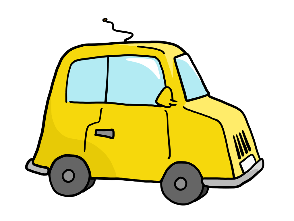 1024x768 Yellow Cartoon Car Png Clipart
