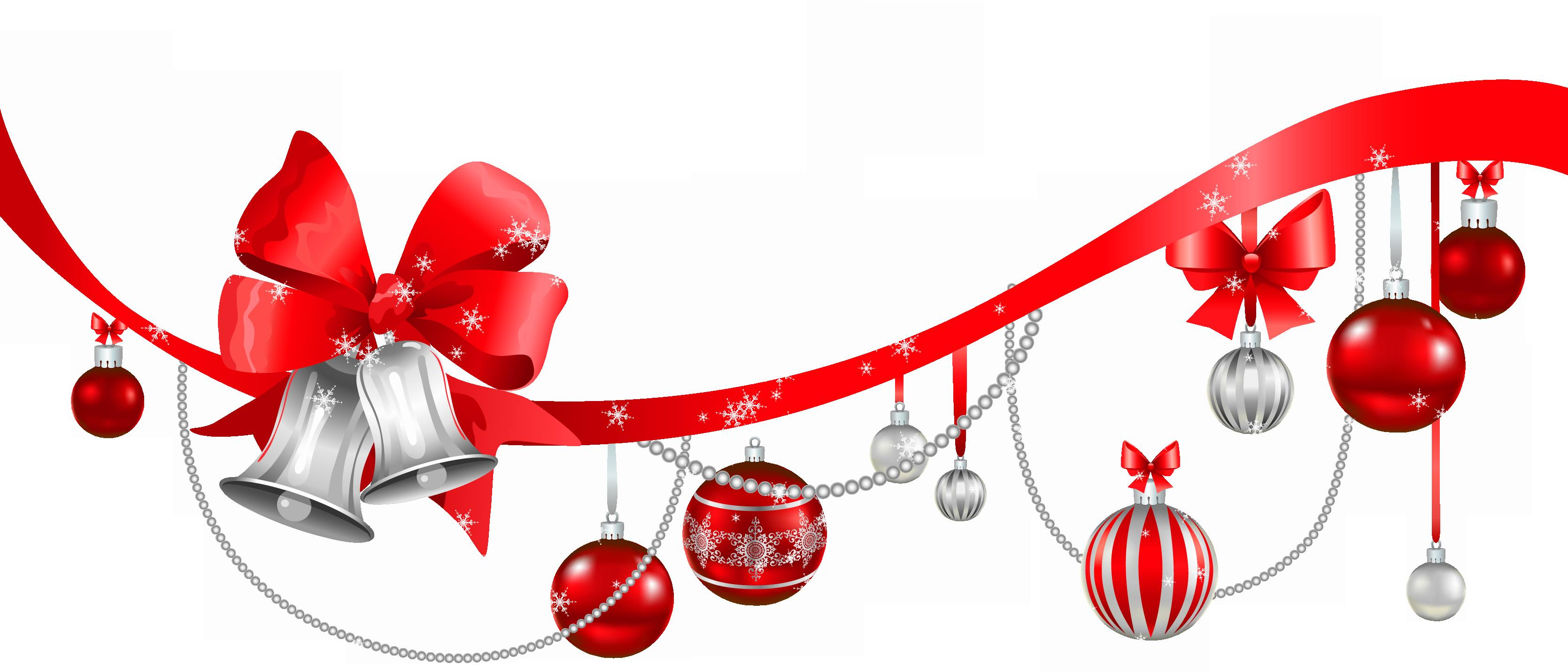 3339x1431 Christmas Decorations Clipart Png