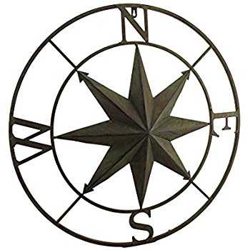 350x350 Metal Compass Rose Distressed Finish Wall Hanging