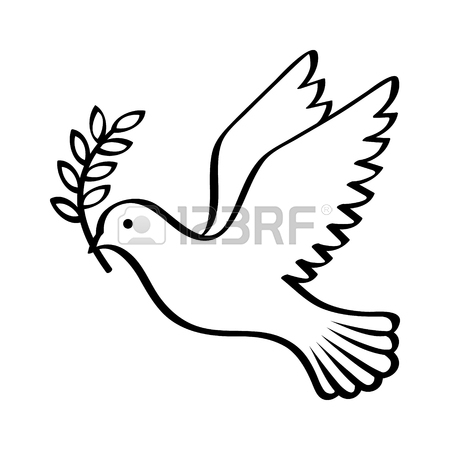 450x450 Flying Dove Holding An Olive Branch As A Sign Of Peace Line Art