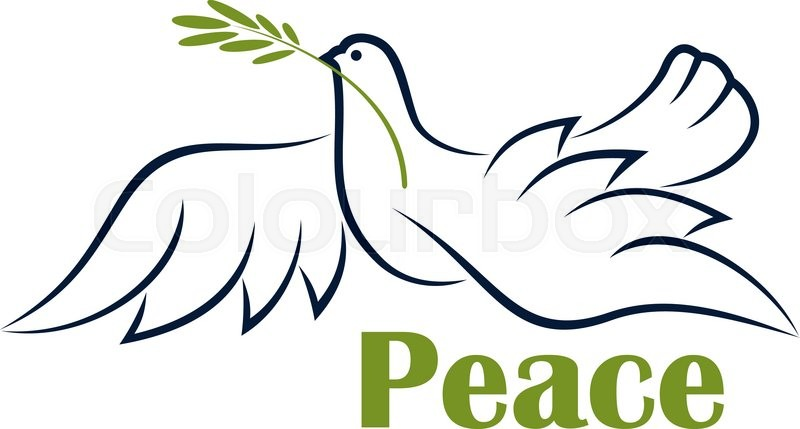 800x429 Flying Dove With Olive Branch As Symbol Of Peace In Outline Sketch