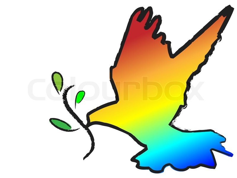 800x600 Vector Colorful Dove With Olive Branch Symbol On White Stock